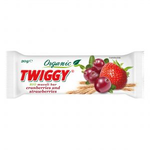 twiggy organic muesli bar with strawberry and cranberries